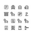 parking icons car garage and parking line vector image