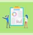 presentation diagrams on board chart vector image vector image