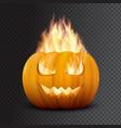 realistic halloween pumpkin in fire vector image vector image