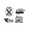 retro summer surf label set of men surfing vector image vector image