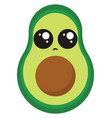 sad avocado on white background vector image