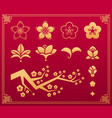 sakura flowers and leaves gold asian ornament vector image