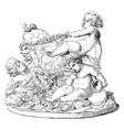 sculpture shows children and goats vintage vector image vector image