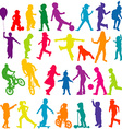 set colored silhouettes active children vector image vector image