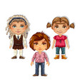 set drawn boy and girls isolated on white vector image