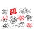 set of black friday calligraphic design retro vector image