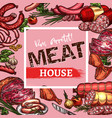 sketch sausages and meat delicatessen vector image vector image