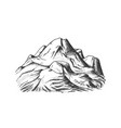 snow covering mountain landscape hand drawn vector image