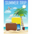 summer trip bag smartphone online flight booking vector image vector image