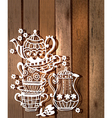 Tea cup background with teapot and jar