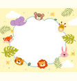 template with cartoon cute wild animals vector image vector image