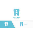 tooth and rocket logo combination dental vector image vector image