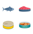 tuna fish can steak icons set flat style vector image