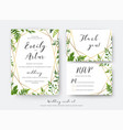Wedding floral invite invitation rsvp thank you vector image