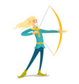 young blonde elf hunting with a bow and an arrow vector image