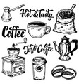 set of coffee hand drawn icons design elements vector image