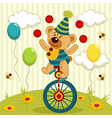 bear clown juggles and rides a unicycle vector image