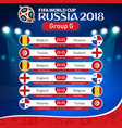 fifa world cup russia 2018 group g fixture vector image