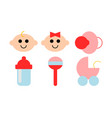 a set of six icons about babies vector image vector image