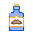 bottle mustache on label icon outline vector image vector image