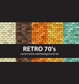 brick pattern set retro 70s seamless brick wall vector image vector image