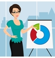 Business woman is representing a round diagram in vector image vector image
