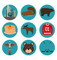 canadian culture set icons vector image vector image