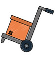 cart with box carton delivery service vector image vector image