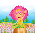 Cartoon Pink Flower Girl vector image vector image