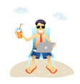conceptual business man banner on beach isolated vector image