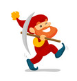 cute senior dwarf walking with a pickaxe vector image
