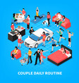 daily life couple isometric vector image vector image