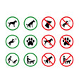 dog forbidden signs dogs permission vector image