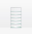 Empty glass shelves on white wall vector image vector image