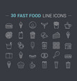 fast food line icons vector image vector image