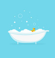 foam bath with yellow duck and bubbles vector image