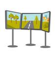 game racing simulator cartoon vector image vector image