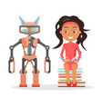girl in dress sit on pile of books beside robot vector image