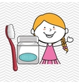 girl with dental floss isolated icon design vector image vector image