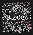greeting card with love word vector image vector image