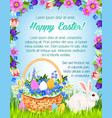 happy easter paschal greeting poster vector image vector image