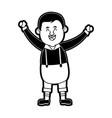 happy man in folk german costume raising arms icon vector image vector image
