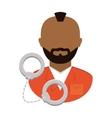 jail prisoner with dark skin icon image vector image