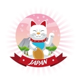 lucky cat japan culture design vector image vector image