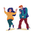 man singing like a rock star and woman dancing vector image vector image