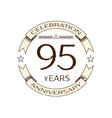 ninety five years anniversary celebration logo vector image vector image
