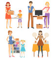 people selling used items at garage sale vector image