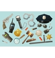 police security icons set collection of elements vector image vector image