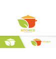 pot and leaf logo combination kitchen and vector image vector image