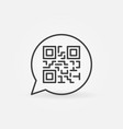 qr code in speech bubble outline icon vector image vector image